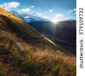 Stock photo sunrise in mountains of svaneti 579109732