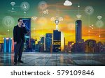 businessman with city and... | Shutterstock . vector #579109846