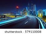 blue neon light highway... | Shutterstock . vector #579110008