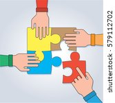 hands with puzzle  teamwork...   Shutterstock .eps vector #579112702
