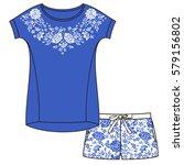 vector pajama set. top and... | Shutterstock .eps vector #579156802