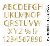 abc and number set made of gold ... | Shutterstock . vector #579159286