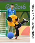 Small photo of Rio de Janeiro-Brazil, September 8, 2016 Paralympics Games in 2016, Goalball Brazil and USA