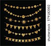 set of garlands made of gold... | Shutterstock . vector #579182002