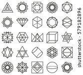 monochrome lines geometric... | Shutterstock .eps vector #579182896
