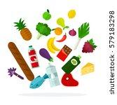 flying food vector flat...   Shutterstock .eps vector #579183298