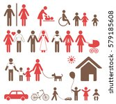 set of colorful family icons... | Shutterstock . vector #579185608