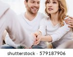 cute delighted woman expressing ... | Shutterstock . vector #579187906