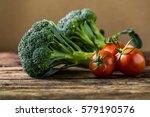 fresh clean vegetable on wooden ...   Shutterstock . vector #579190576