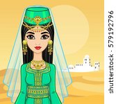 animation portrait of the arab... | Shutterstock .eps vector #579192796