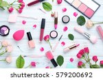 different makeup cosmetics on... | Shutterstock . vector #579200692