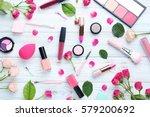 different makeup cosmetics on... | Shutterstock . vector #579200692