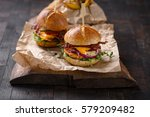 homemade burgers with grilled... | Shutterstock . vector #579209482