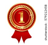 vector gold medal with red... | Shutterstock .eps vector #579212458