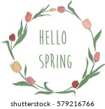 hello spring. hand drawn tulip... | Shutterstock .eps vector #579216766