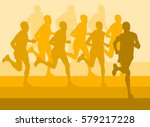 running marathon people group... | Shutterstock .eps vector #579217228