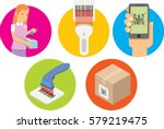 simple set of bar code and qr... | Shutterstock .eps vector #579219475