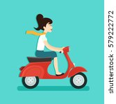 girl riding red scooter. vector ... | Shutterstock .eps vector #579222772