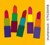 five colored tubes of lipstick... | Shutterstock .eps vector #579230458