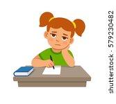 bored school girl doing... | Shutterstock .eps vector #579230482