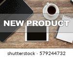 tablet on desktop with new... | Shutterstock . vector #579244732