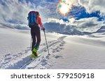girl makes ski mountaineering...   Shutterstock . vector #579250918
