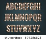 alphabet with light bulbs.... | Shutterstock .eps vector #579256825