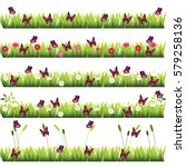 Stock vector very high quality original trendy set of grass with flowers and butterflies 579258136