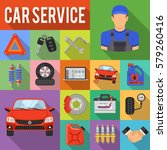 car service flat icons set with ... | Shutterstock .eps vector #579260416