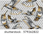 seamless pattern with image... | Shutterstock .eps vector #579262822