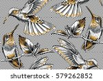 seamless pattern with image... | Shutterstock .eps vector #579262852