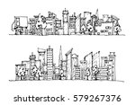 cartoon hand drawing city.... | Shutterstock .eps vector #579267376
