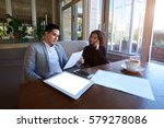 two colleagues managers... | Shutterstock . vector #579278086