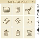 office supplies and stationery... | Shutterstock .eps vector #579282166