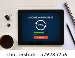 update concept on tablet screen ... | Shutterstock . vector #579285256