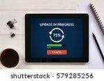 update concept on tablet screen ... | Shutterstock . vector #579285256