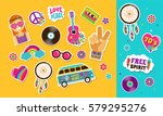 hippie  bohemian stickers  pins ... | Shutterstock .eps vector #579295276