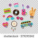 hippie  bohemian stickers  pins ... | Shutterstock .eps vector #579295342