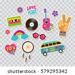 hippie  bohemian stickers  pins ... | Shutterstock .eps vector #579295342
