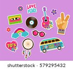 hippie  bohemian stickers  pins ... | Shutterstock .eps vector #579295432