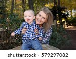 grandson and grandmother | Shutterstock . vector #579297082