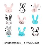 Stock vector bunny rabbits cute characters set for easter kids and baby t shirts and greeting cards 579300535