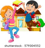 cute little boy and girl with... | Shutterstock . vector #579304552