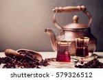 red hibiscus tea in turkish... | Shutterstock . vector #579326512