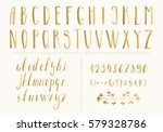 Golden Hand Drawn Letters And...