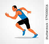 runners on short distances... | Shutterstock .eps vector #579330016