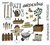 gardening equipment set. cute... | Shutterstock .eps vector #579331642