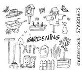 gardening equipment set. cute... | Shutterstock .eps vector #579331672
