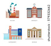 set of urban buildings in a... | Shutterstock .eps vector #579332662