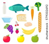set of healthy food products.... | Shutterstock .eps vector #579332692